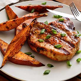 Grilled Pork Chops & Sweet Potato Wedges