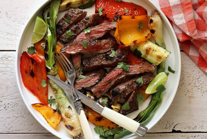 skirt steak with veggies paleo grill recipe