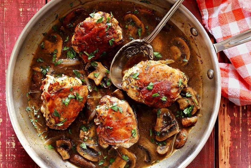 easy paleo recipe for prosciutto wrapped chicken with marsala mushroom sauce