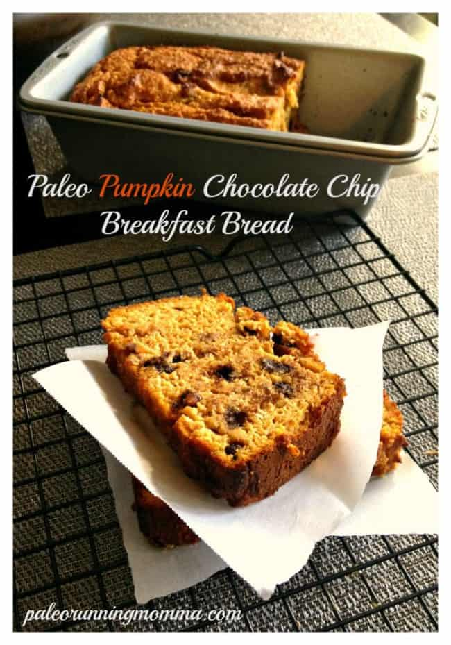 Paleo Pumpkin Chocolate Chip Breakfast Bread - @paleorunmomma