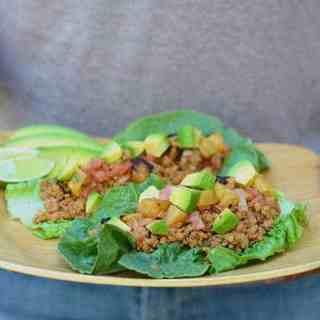 pork lettuce tacos with pineapple salsa