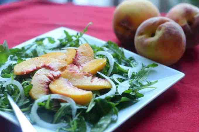 Peach, Onion, and Arugula Salad