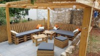 Outdoor Pergola Lounge Seating with Pallets | Pallet ...