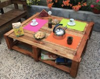 Pallet Made Outdoor Coffee Table | Pallet Furniture Projects.