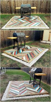 Recycled Pallets Wooden Garden Deck   Pallet Ideas