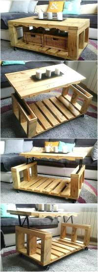Repurposed Wood Pallets Lift Top Coffee Table | Pallet Ideas