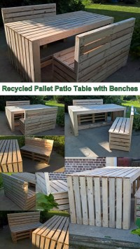 Recycled Pallet Patio Table with Benches | Pallet Ideas ...
