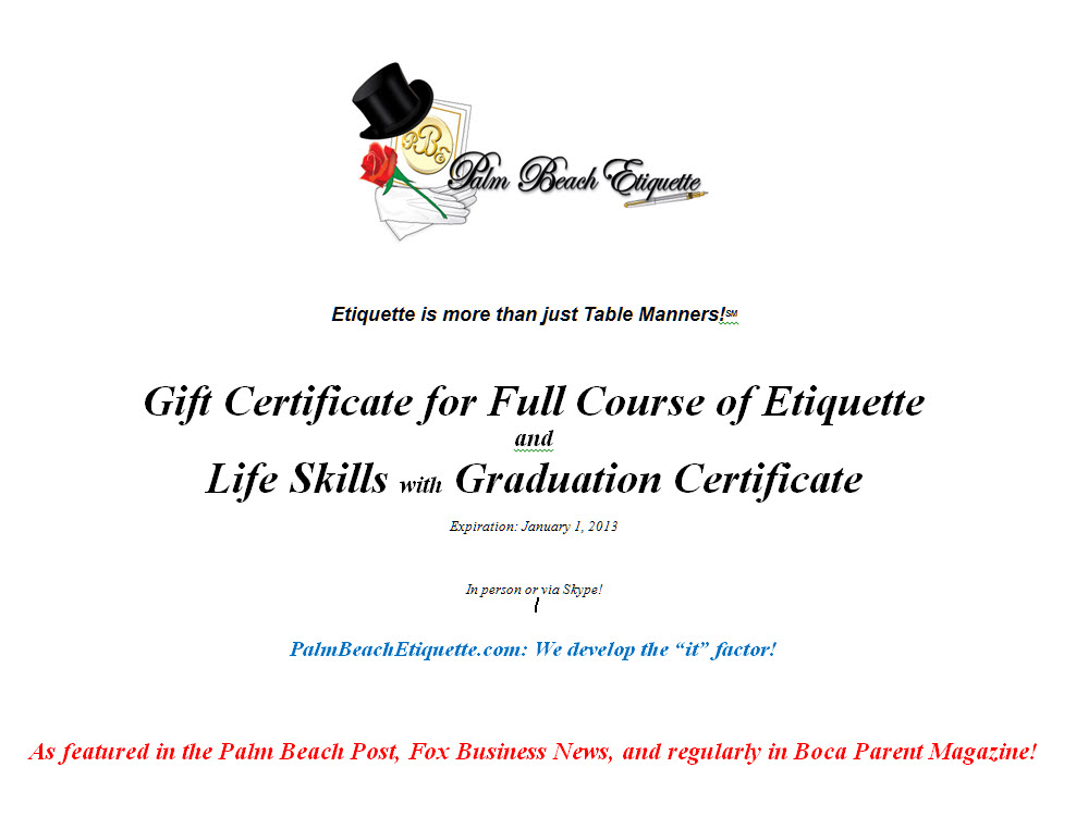 Gift Certificate Full Course with Graduation Certificate - Palm