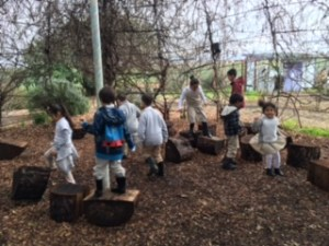 East Palo Alto Charter School students exploring outside during a Environmental Volunteers program