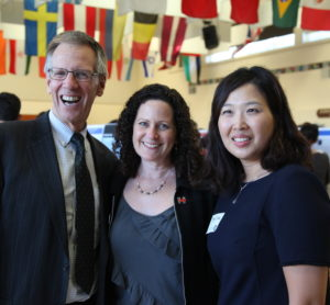 PAUSD Superintendent Dr. Max McGee, Board President Heidi Emberling and AAR Research Coordinator Jeong Choe
