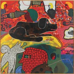 """The polymer-on-cotton-canvas work """"A Figure of Our Times,"""" by Roy De Forest, is part of the """"Butterfly Effect: Art in 1970s California"""" exhibit opening soon at the Palo Alto Art Center. Image courtesy of the Palo Alto Art Center"""