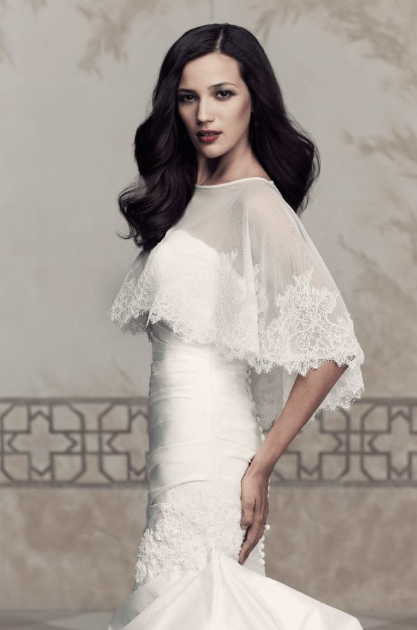 Paloma Blanca Style 213 | Net and Lace Cape