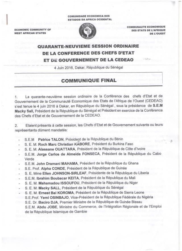 49èME CONFeRENCE DES CHEFS D'etat CEDEAO 01
