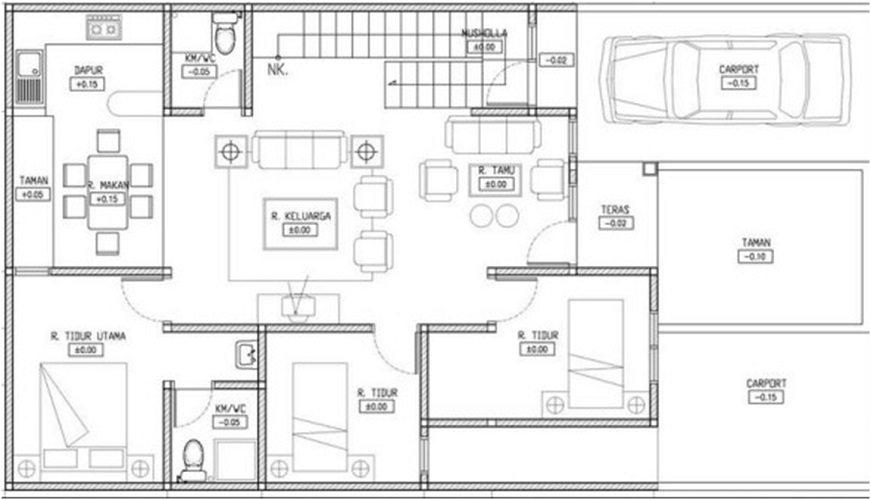 denah rumah 1 lantai 3 kamar desain gambar foto tipe