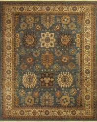 Medium Blue with Ivory Border and Brown Accents area rug