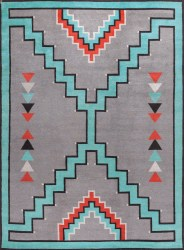 Southwestern Tribal Design. Turquoise Grey Terra Cotta and Black.