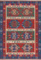 Modern Tribal Design - Rust Navy with Multi Colored Accents area rug