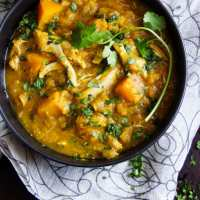 Curried Butternut Squash, lentil, and Chicken Stew