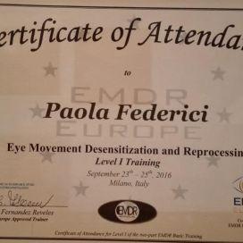 certificato attendance Paola Federici