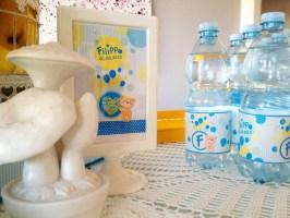 allestimento buffet festa battesimo teddy bear giallo e azzurro con confetti e dolci di paola maresca