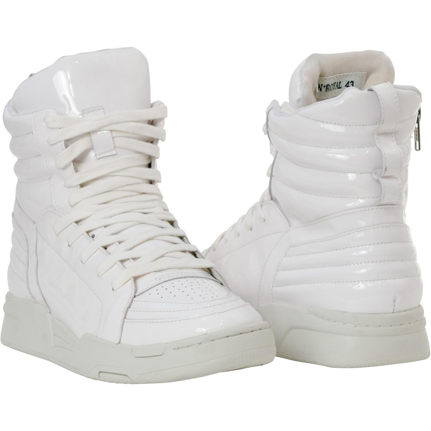 Breakin39 Royal White Patent Leather High Top Sneakers