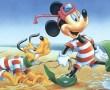Papel de Parede Mickey e Pluto na Praia