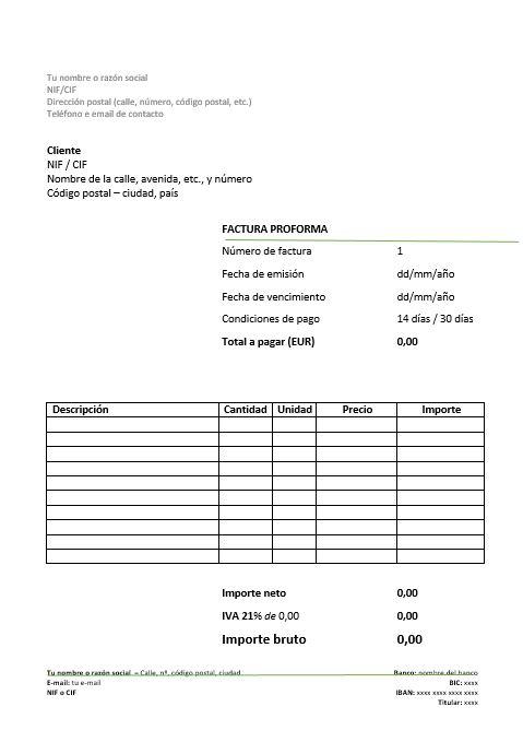 Modelo de factura proforma - formato de factura de venta