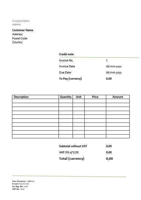 Modelo de nota de crédito - formato nota de credito