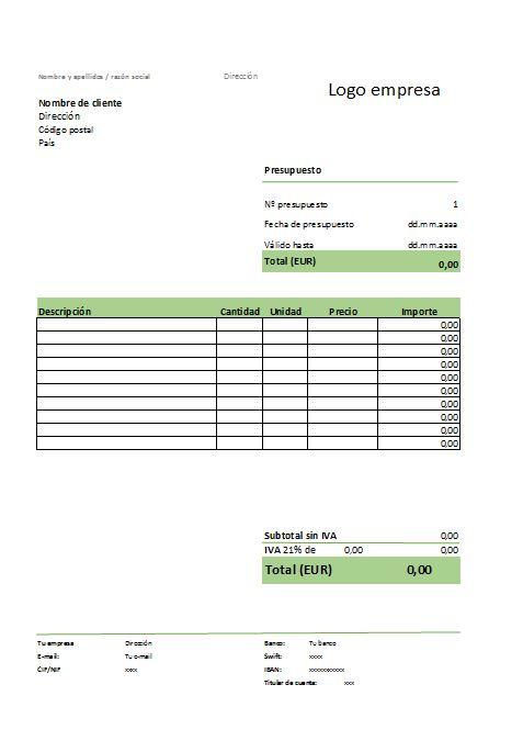 Modelo de presupuesto - formato nota de credito