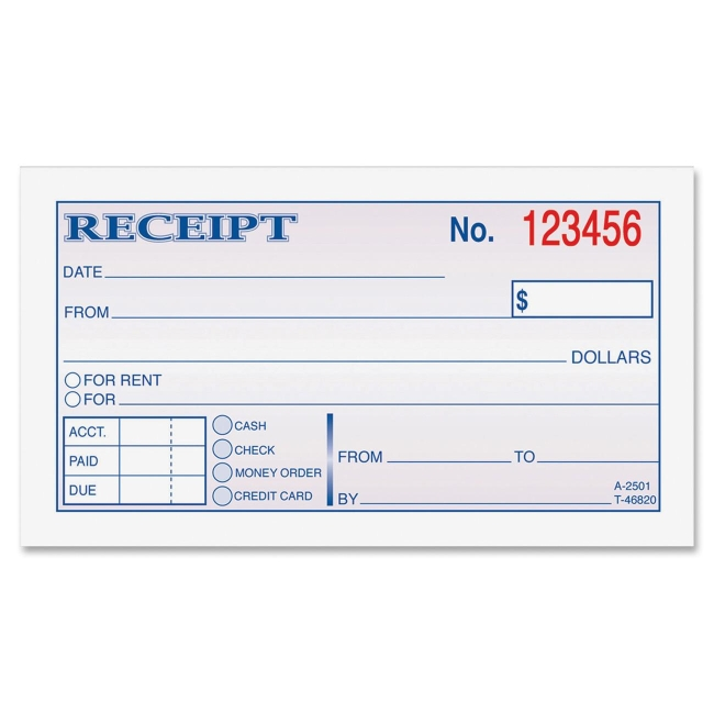 Cash box  receipt books - how do you make a receipt