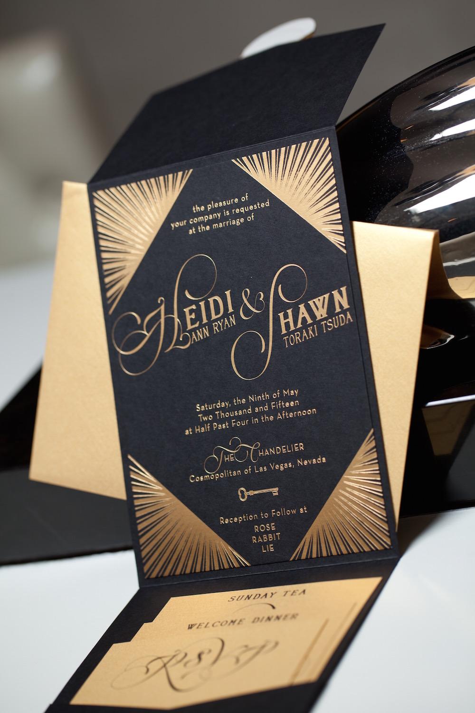 art deco wedding invitations heidi and shawn las vegas wedding invitations art deco wedding invitations