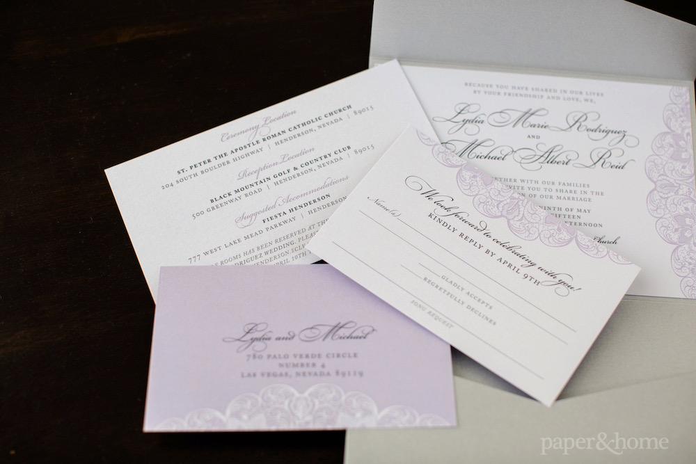 Purple and Gray Lace Wedding Invitations - Paper and Home