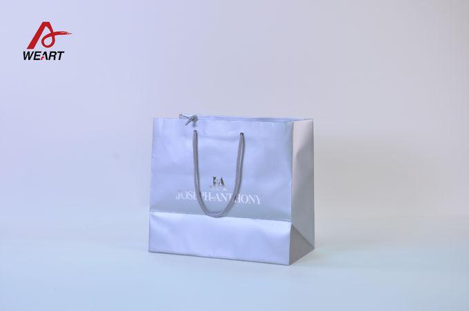 Silver Color Printable Art Paper Bags Silver Handle Kraft Paper Sacks