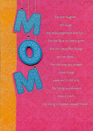 Mom Letters with Gems Handmade Designer Boutique Mother\u0027s Day Card