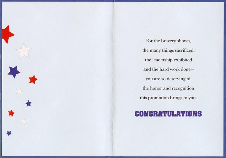 Stars and Stripes Military Promotion - Congratulations Card