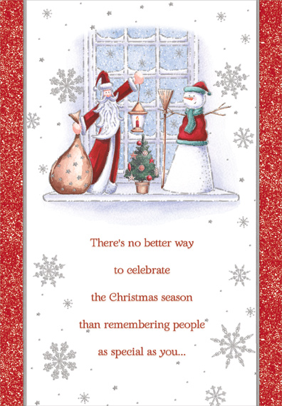 Santa and Snowman on Windowsill Christmas Card by Designer Greetings - Santa Envelopes