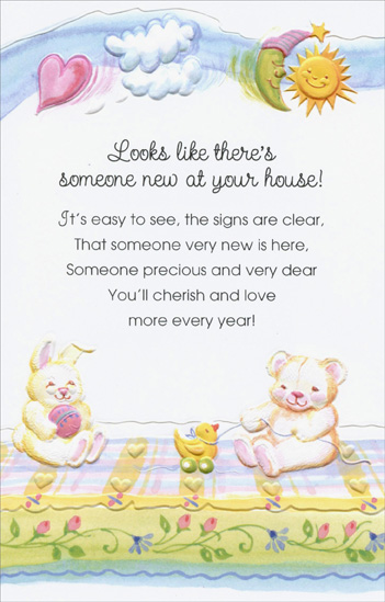 Bear and Bunny On Blanket Someone New New Baby Congratulations Card