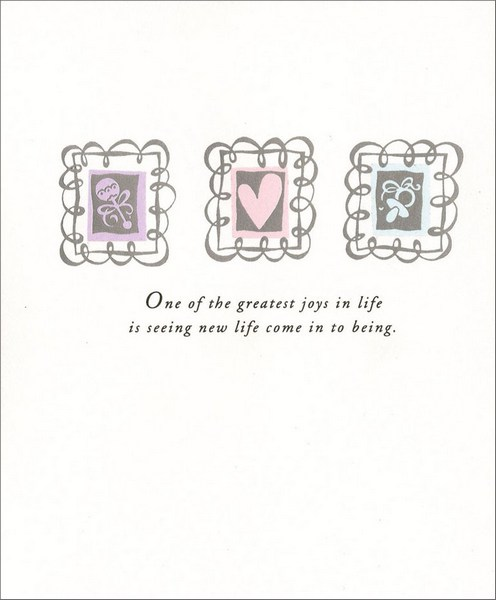 Icons on Silver Foil New Baby Congratulations Card by Freedom Greetings - new baby congratulations card