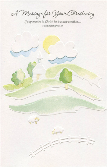 Soft Water Color Hills and Church Christening Card by Freedom Greetings