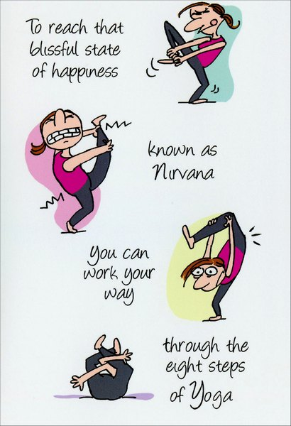 8 Steps of Yoga Funny / Humorous Birthday Card by Nobleworks