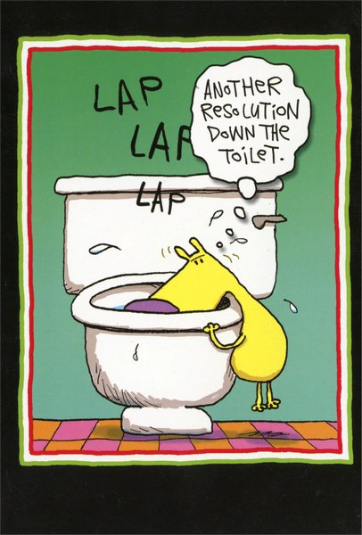 Resolution Toilet Funny / Humorous New Year Card by Nobleworks