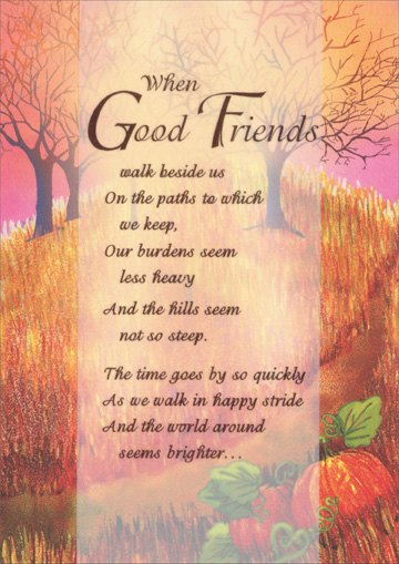 Good Friends Walk Beside Us - Recycled Paper Greetings Thanksgiving