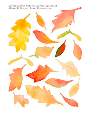 Beverly Brown Printable Fall Leaf Collage Sheet