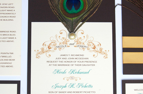 Flapper Peacock Wedding Invitations