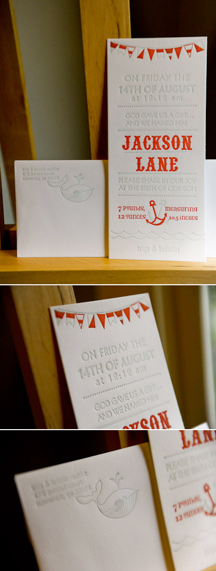 Nautical Letterpress Baby Announcement