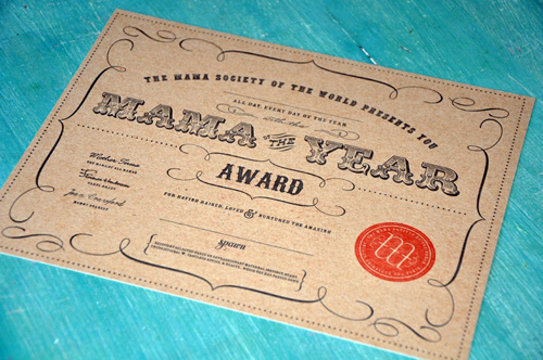 Louella Press Letterpress Mama of the Year Award