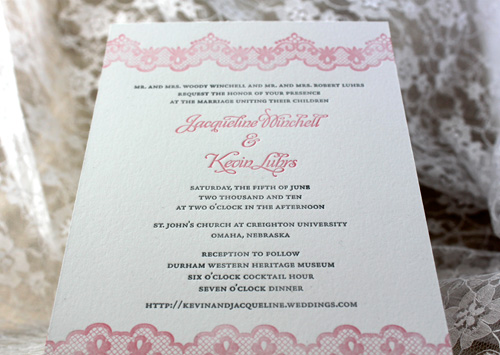 Paper Lovely Lacy Letterpress Wedding Invitations