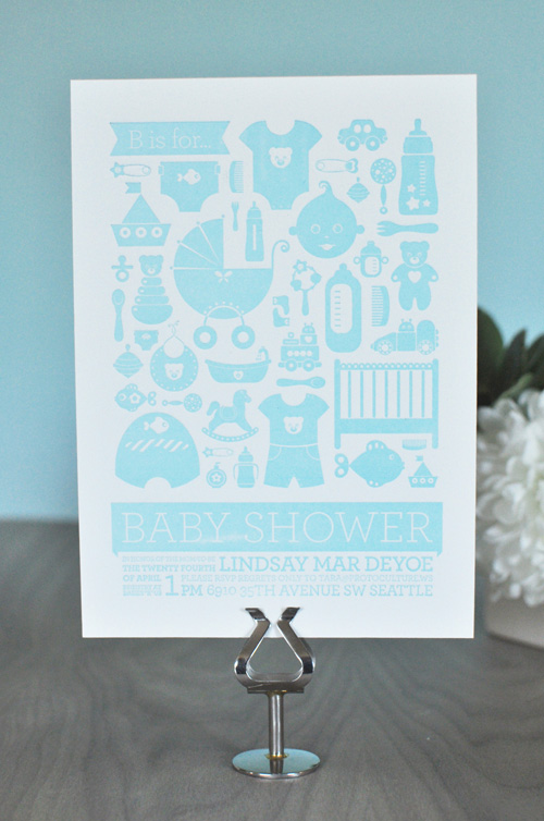 Letterpress Baby Shower Invitations