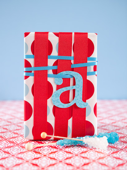 Red, White, and Blue Weaved Ribbon Gift