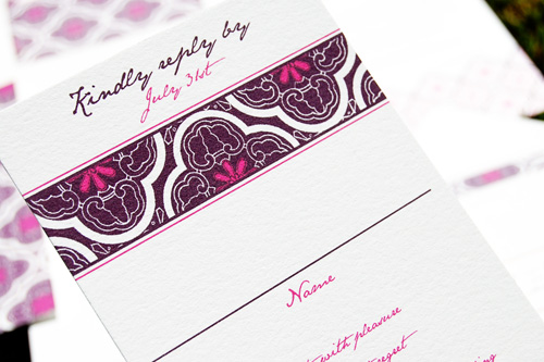 Wiley Valentine Aubergine & Fuchsia Wedding Invitations